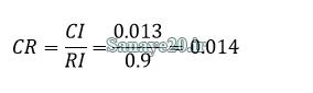 محاسبه نرخ ناسازگاری در مثال AHP و ANP