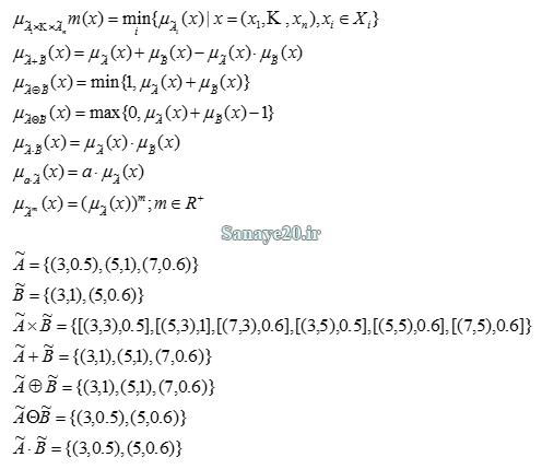 عملیات جبری بر روی اعداد فازی جمع فازی، ضرب فازی