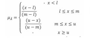 تابع عضویت برای اعداد فازی مثلثی