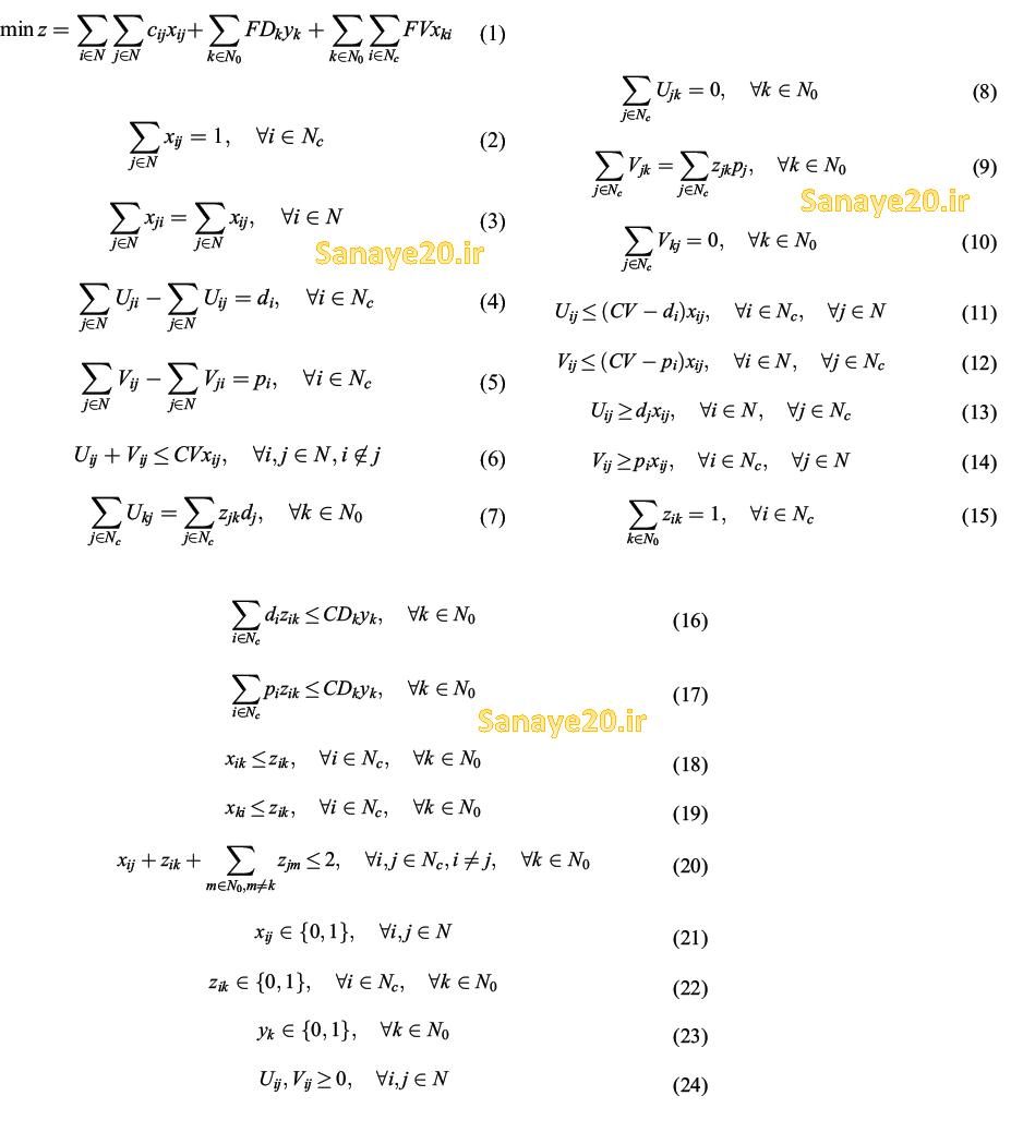 مدل ریاضی مکان یابی مسیریابی با انتخاب و تحویل همزمان lrpspd