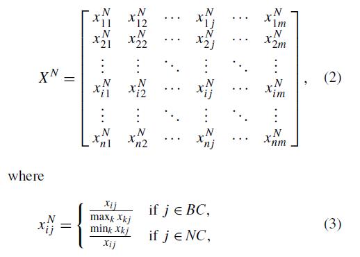 نرمال سازی ماتریس تصمیم SECA